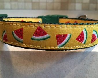 Slice of Summer Small and Medium Dog Collar and Optional Matching Leash