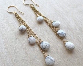 White Turquoise Waterfall Earrings - Wire-Wrapped Gemstone Teardrops on 14kt Gold-Filled Chain