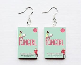 Fangirl mini book earrings