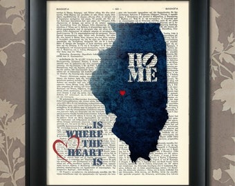 Illinois Art Print, Illinois Print, Illinois Map Art, Illinois Wall Art, Illinois Pride, Illinois Map Print, Illinois Map, Illinois Decor