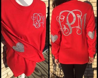 Long Sleeve Glitter Monogram Valentines Heart Elbow Patch Shirt