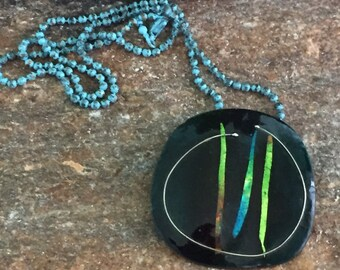 Enamel Copper Necklace signed JYTTE , Neon Copper Pendant, Copper Jewelry, Neon Jewelry