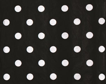 Black and White Tissue Paper # 323 / Gift Wrap -- White Dots on Black --  10 Large sheets