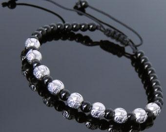 Men's Women Bright Black Onyx Adjustable Braided Bracelet 925 Sterling Silver Celtic Beads DiyNotion BR797