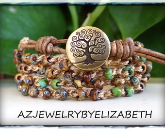 Wrap Bracelet, Crochet Bracelet, Crochet Necklace, Crochet Jewelry, Crochet Wrap, Bohemian Jewelry, Beaded Wrap Bracelet, Boho Jewelry.