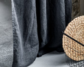 Charcoal. Washed linen curtain/drape for relaxed look