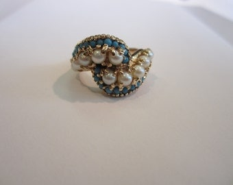 14k Turquoise and Pearl Ring, Vintage Turquoise, June Birthstones