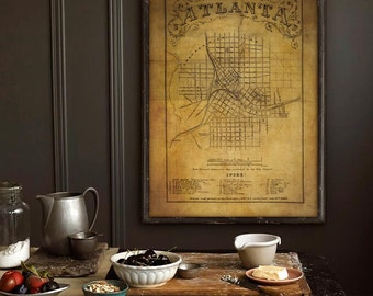 "Atlanta map 1864, Civil War map of Atlanta, GA 20x27"" for Ikea frames or 27x40"" for movie poster size frames - Limited Edition of 100"