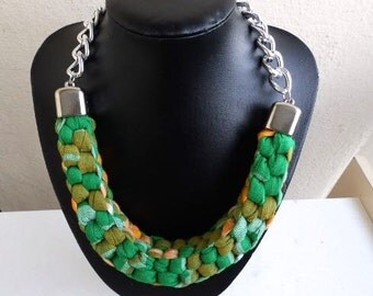 Bespoke Montserrat National Chunky Fabric Necklace Silver Finish