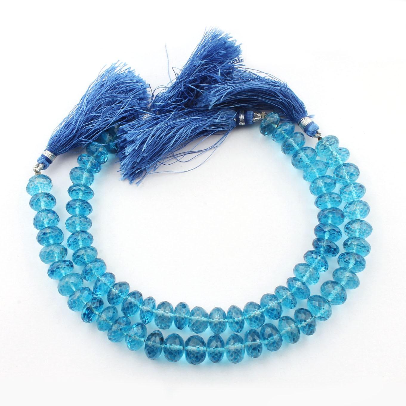 holiday sale 2 strands blue topaz coated quartz faceted rondelle briolettes blue topaz. Black Bedroom Furniture Sets. Home Design Ideas