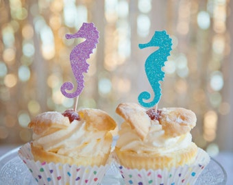 Seahorse Cupcake toppers, 12 pack Seahorse cupcake toppers