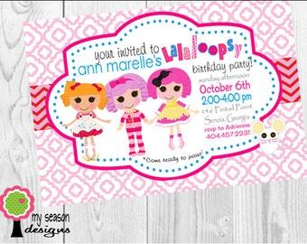 La La Loopsy Birthday Party Invitation, Rag Doll Party, La La Party, La La Loopsy Birthday, Girl's Doll Party