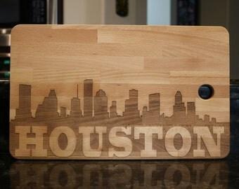 City skyline cutting board, customizable city name cutting board, hometown, Houston skyline, San Francisco skyline, New York, Baltimore