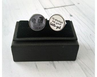 Father of the Bride round personalised photo wedding cufflinks - Little Girl