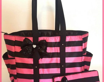 Hot Pink & Black Stripes Diaper Bag. Tote. Victoria's Secret lookalike. Glitter Bow. Matching wipe case.