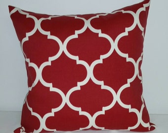 Red and ivory pillow cover,  decorative throw pillow, Americana pillow cover, Patriotic pillow cover, accent pillow, red pillow cover