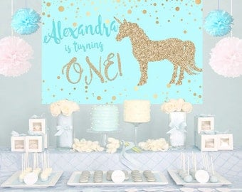 Unicorn Aqua Glitter Personalized Party Backdrop - First Birthday Cake Table Backdrop Birthday- Baby Shower Backdrop