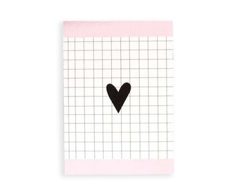Illustrated Notebook 100 lined sheets A5 Valentine's Day gift Heart design Black White Pink Notebooks Girls Notebooks Teens
