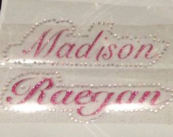 Iron on Personalized heat transfer  glitter vinyl  with Rhinestone boarder. DIY Project,