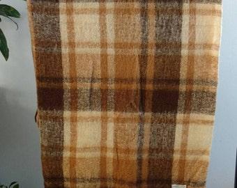 Plaid Virgin Wool Throw Blanket