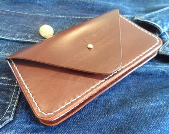 leather wallet, hand cut/stitched/burnished. (FREE U.K. SHIPPING)