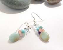 African opal earring, Women jewelry, Blue stone dangle, Healing jewelry, Gemstone earring, Gift for her, Zen jewelry, Natural earring, OOAK