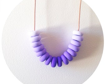 Blackcurrant - Purple Handmade Polymer Clay Bead Necklace