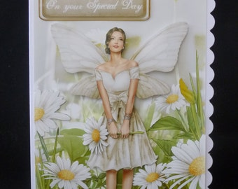 Beautiful 3d Decoupage Flower Fairy Birthday Card - Handcrafted in UK