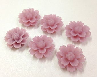 NEW - XLG 27mm Resin Flower Cabochon - Lavender - QTY 6