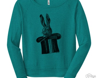 Women's Rabbit In A Hat Raglan - S M L Ladies - Black Print, American Apparel Tri Blend Shirt, Bunny Sweatshirt, Rabbit Shirt - 8 Colors