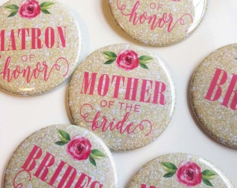 Gold Glitter and Pink Peony - Bridal Shower/Bachelorette Pins (pack of 7)