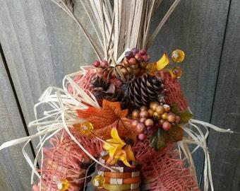 Handwoven Basket Indian Corn Fall Decoration