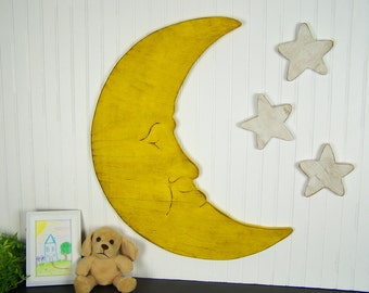 Wooden Moon And Stars Nursery Decor Childrens Wall Art Kids Room Decor Moon Nursery Man In The Moon Sign Love You To The Moon And Back Sign