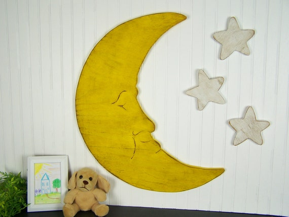 Wooden Moon And Stars Nursery Decor Childrens Wall Art Kids