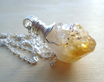 Citrine Necklace - Raw Citrine Pendant - Wire Wrapped Gemstones - Healing Jewelry - Handmade Gifts