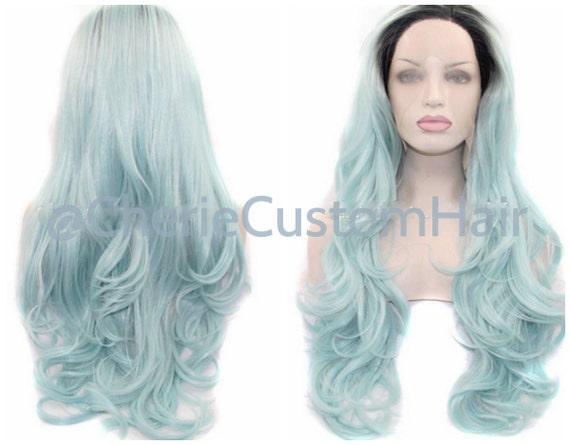 Balayage Dip Dye 8A alto calor sintético peluca 1b de negro en polvo azul Pastel 22