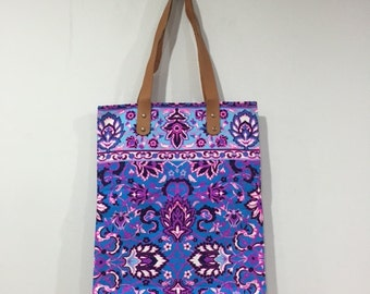 Tribal Canvas Tote Bag, Neon Fabric, Leather Handles, Blue / Purple