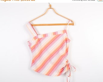 ON SALE Pink Yellow Summer Top Asymmetric Strap Top 90s Style