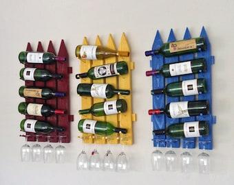 Wood Wall Wine Rack-Wall Mounted Wine Rack-Wood Wine Rack-Handmade Wine Rack, Vertical Wine & Glasses Rack Holds 5 Bottles 4 Glasses