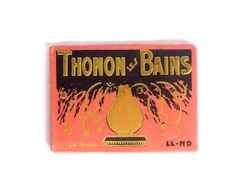 Petit album photo souvenir, vintage Thonon Les Bains France 1930 - Livret rétro de 12 mini cartes postales touristiques en noir blanc