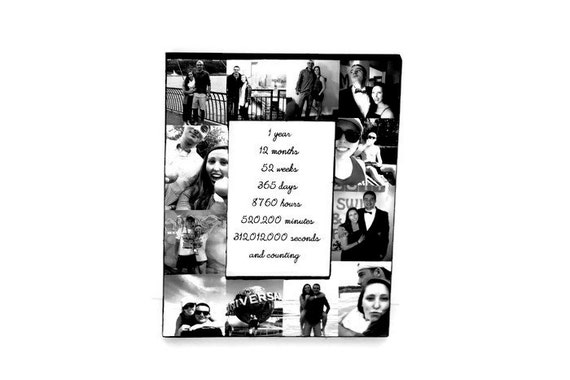 1 Year Anniversary Picture Frame Collage Personalized Gift