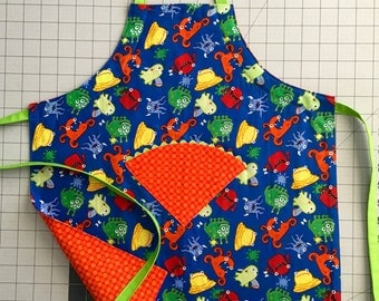 Childrens Monster Apron-reversible and adjustable