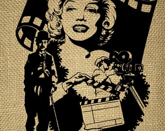 Instant Download-Cinema-Movie-Hollywood-Charlie Chaplin-Film Strips-Marilyn Monroe-Movies Addiction-Printable Sheet-Image Transfer-No.791