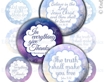 Bible Verse Bottlecap Images. Digital 1 Inch Bottle Cap Images. 5 Different Verses. 4x6 Digital Collage Sheet. 1 Inch Printable Circles 072