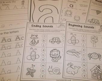 290 Printed Alphabet Worksheets. Preschool, Kindergarten, Pre-K, Daycare teaching supplies.  Curriculum lesson plan worksheets for homeschoo