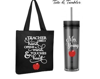 teacher tote bag and tumbler set, teacher gift, personalized tote bag, personalized teacher tumbler, stocking stuffer, personalized gift