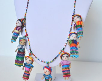 Handcrafted Colorful Rainbow Knitted Doll Girl Seed Glass Bead Necklace