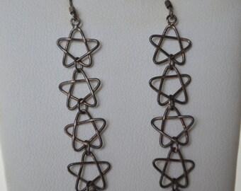 Antique Vintage Sterling Silver 5 Stars Dangle Hook Earrings
