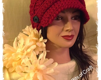 Womans Crochet Slouch with Brim Crochet Hat in Red