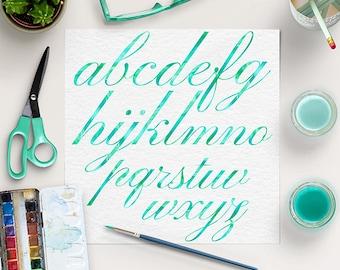 WATERCOLOR CURSIVE, Mint Alphabet, Brush Lettering Fonts, Mint Font Clip Art, Watercolor Printable Letters, BUY5FOR8
